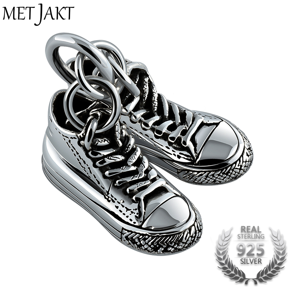 MetJakt Classic Silver Double Canvas Shoes Pendant and 925 Sterling Silver Necklace Men