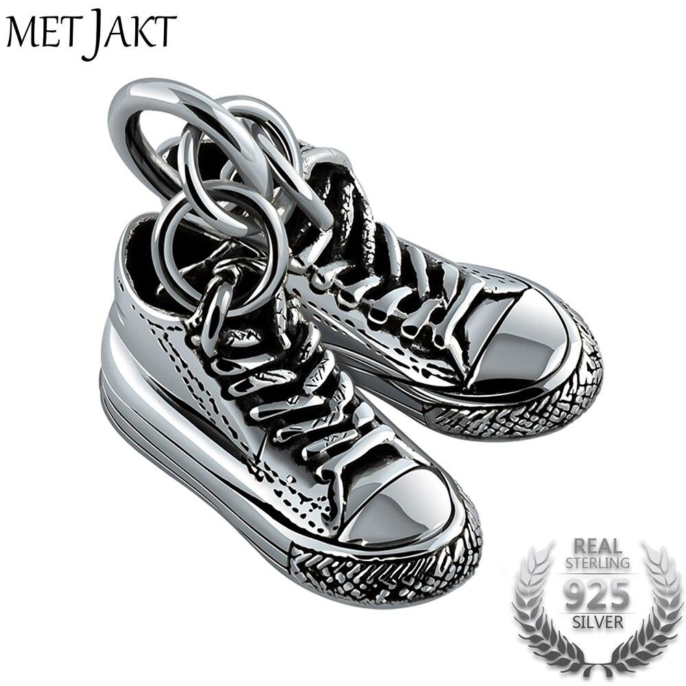 MetJakt Classique Argent Double Toile Chaussures Pendentif et 925 Collier En Argent Sterling Hommes de Punk Bijoux