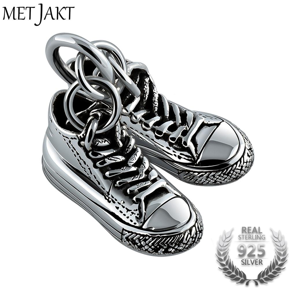 MetJakt classique argent Double toile chaussures pendentif et 925 en argent Sterling collier bijoux Punk pour hommes