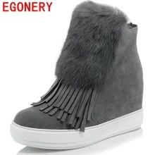 EGONERYรองเท้า2017ใหม่มาถึงผู้หญิงรองเท้าหิมะฤดูหนาวหวานซิปด้านแฟชั่นt asselsรองเท้าที่เพิ่มความสูงรอบนิ้วเท้า