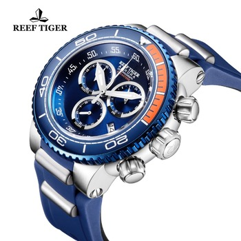 Reef Tiger/RT Luxury Blue Sport Watches Mens Water Resistant Stainless Steel Fashion Military Watches Relogio Masculino RGA3168 2