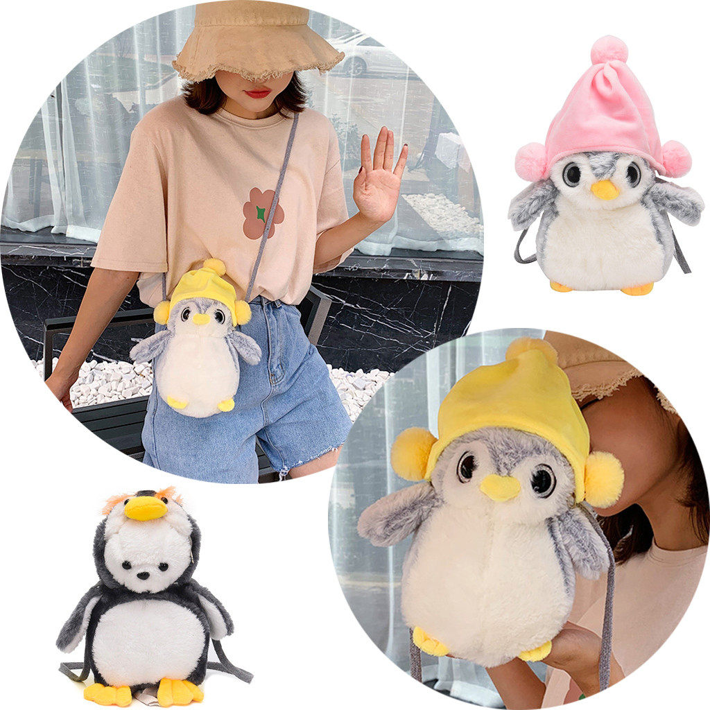 Small Bagpack Ladies Phone Pouch Pack Fashion Women Girl Cute Fat Penguin-Like Bags Plush Crossbody Bags Weird Bags Shoulder Bag(China)