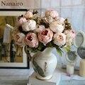 13 голов пион букет Шелковый Искусственный цветок роза свадьба дома украшение стола ваза стол композиция поддельные цветы