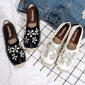 Rhinestone Straw Fisherman Shoes Luxury Crystal Flower Flats Women Loafers Soft Single Shoes Comfortable Lazy Shoes