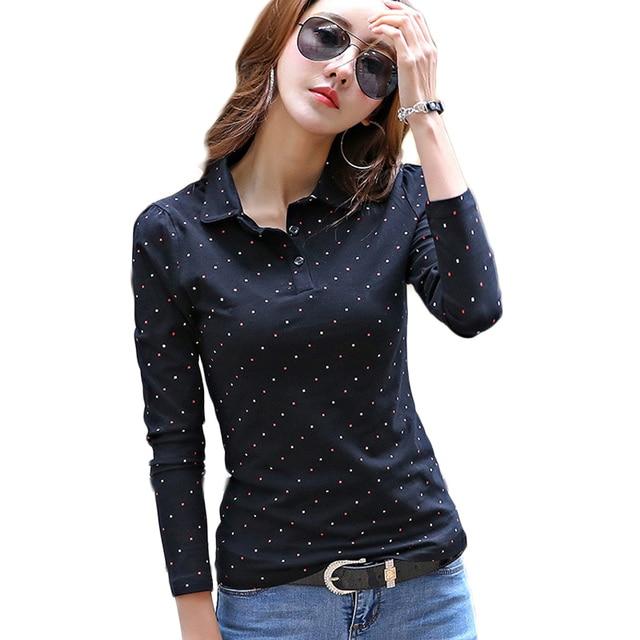 2018 Демисезонный Мода рубашки поло Для женщин с длинными рукавами поло удобный топ Для женщин рубашка Леди рубашки поло Femme