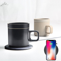 2in1 Fast Q1 10W Wireless Charging pad dock cradle charger & 55 Degree Electric Heating Coffee Mug warmer cup for iphone samsung