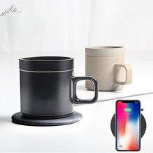 2in1 Schnelle Q1 10W Wireless Charging pad dock cradle ladegerät & 55 Grad Elektrische Heizung Kaffee Becher wärmer tasse für iphone samsung