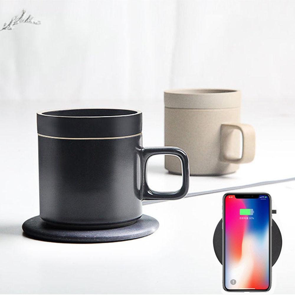 Chargeur de berceau de dock de protection de charge sans fil de 2in1 Fast Q1 10 W et tasse de réchauffeur de tasse de café de chauffage électrique de 55 degrés pour l'iphone samsung