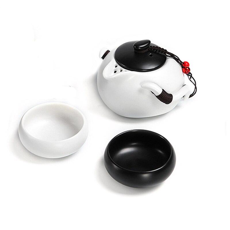 Portable Tea set include 1 Teapot 2 Teacups 1bag,Beautiful and easy teapot kettle,Chinese Travel Ceramic Portable Teaset gaiwan