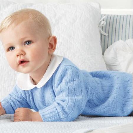 Auro mesa 2017 nuevas llegadas azul mameluco del bebé de una sola pieza del mono de la ropa del bebé que hace punto