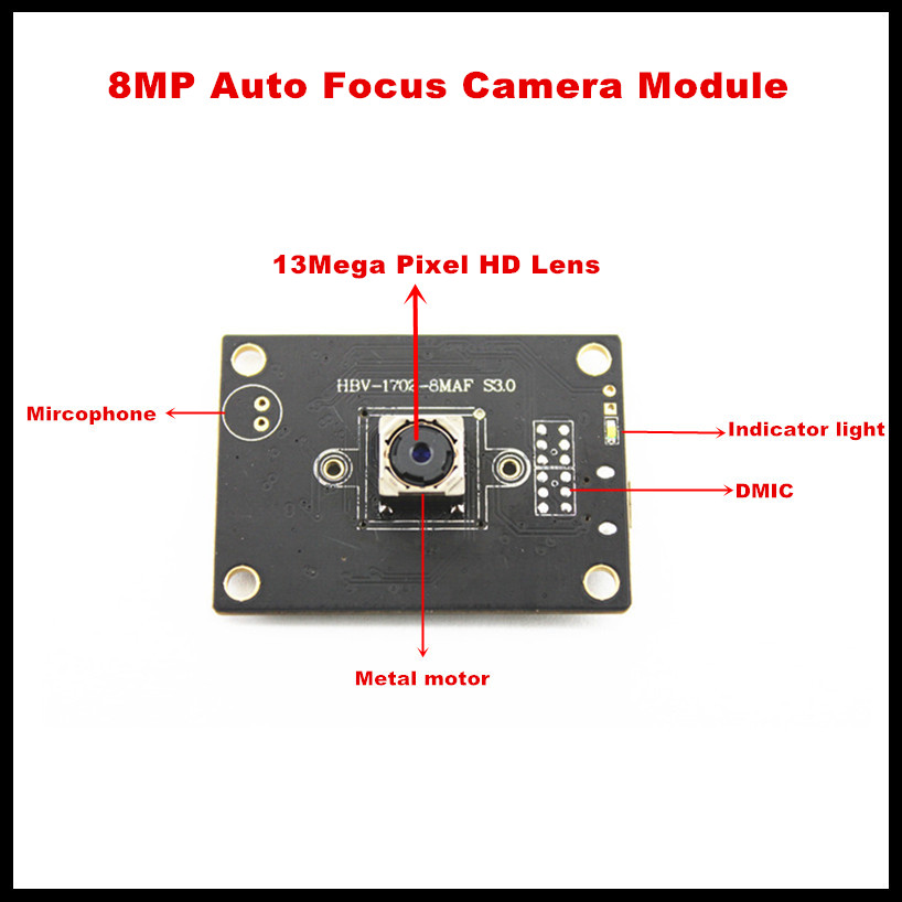 Free shipping Micro USB2 0 8MP Free drive Auto Focus camera module working on Android Linux