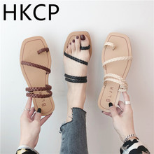 HKCP The new womens sandals for the summer 2019 are Korean version of stylish gladiator sash flat toe sandal C229