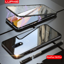 Luphie Magnetic Case for OnePlus 7 Pro Full Front+Back 9H Glass Tempered Film Magnet Metal Cases Cover for OnePlus7 1 Plus 7 1+7(China)