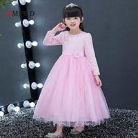 2018 Fashion Long Sleeve Girls Children Brand Wedding Princess Embroidery Dress Girl Dress Child Piano Clothing