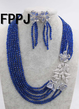7rows blue jade round faceted 4mm a modrý květ přívěšek a náušnice 18-23inch velkoobchod korálky přírody