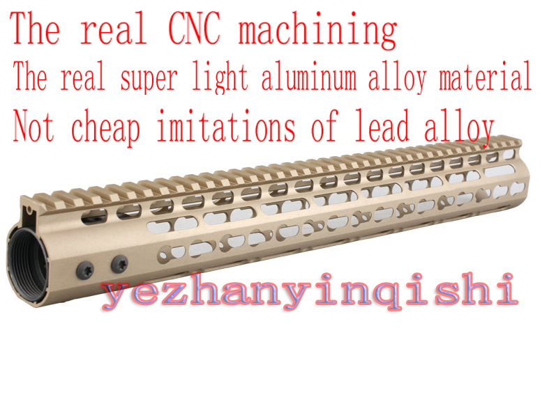 One-piece Real CNC lightweight aluminum alloy 15 inch TAN handguard rail system for AR-15/M4/M16 - Free shipping new lightweight cnc aluminum anodes m lok 9 inch handguard rail one picatinny rails system bk tan