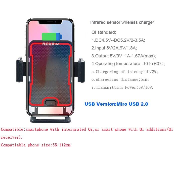 Car Air Vent Clip Aspiration Infrarouge Capteur Sans Fil Chargeur Téléphone Stands Pour Huawei Honor 8X/8X Max, honor Lecture, Compagnon 10