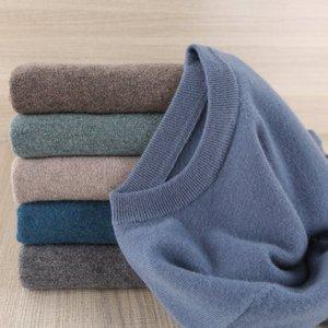 Image 5 - 판매 Morandi 색상 겨울 새 브랜드 남자의 o 목 100% 괜 찮 아 요 양모 스웨터 기본 풀 오버 남자 크리스마스 Blusas Masculina