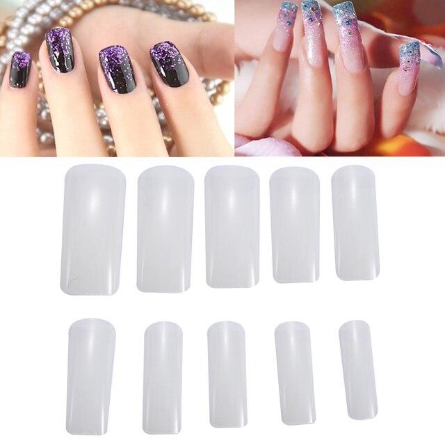 10 Sizes Half Cover Square Fake Nail Art Tips 500Pcs UV Manicure ...