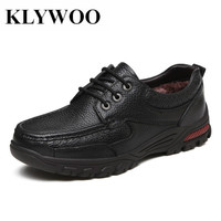 KLYWOO Big Size 38 48 Genuine Leather Men Casual Shoes Super Warm Plush Fashion Men Dress