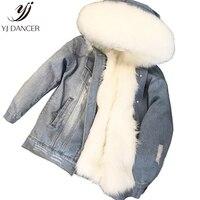 Пастушка толстые куртки 2018 новые модные вечерние преодолеть Высокое качество большой меховой воротник из искусственного лисьего меха Джин