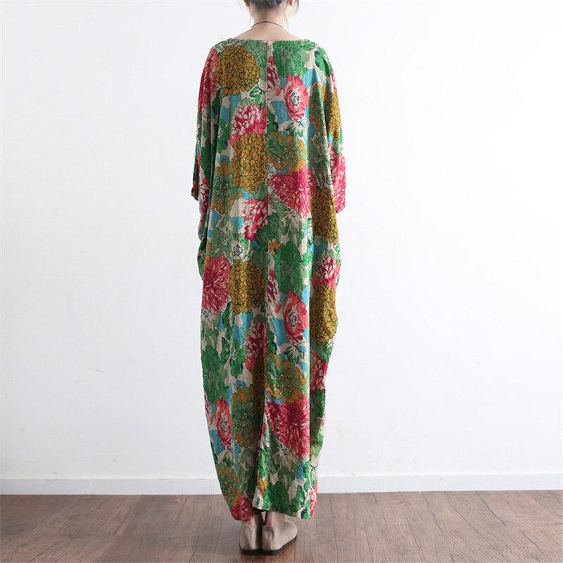 SCUWLINEN Vestidos 2019 Ljetna haljina Vintage Ispis O-neck ogrtač - Ženska odjeća - Foto 4