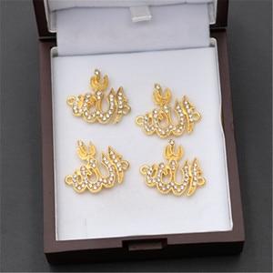 Image 2 - 8pcs עתיק זהב 24*22mm ריינסטון אללה לוגו סגסוגת מחברים לשרשרת DIY דת אסלאמי תכשיטי קסמי ממצאי