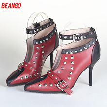 BEANGO Women Temperament Mixed Color Shallow Buckle Ankle Boots Sheepskin Pointed Toe Rivet Super High Heels Boots Dress Shoes