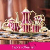 뼈 중국 커피 냄비 컵 차 커피 세트 w/간단한 럭셔리 홈 성격 w/트레이 아름다운 세라믹 음료 용기 거실