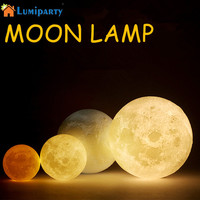 Simulation 3D Moon Night Light 3 LEDs USB Rechargeable Moonlight Desk Lamp With Wood Base