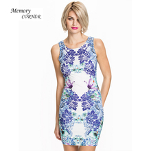 Summer Dress 2017 Sexy Round Neck Sleeveless Print Dress Office Dress Plus Size Women Clothing Costume