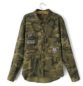 90af46ba5 € 15.31 10% de DESCUENTO|Moda manga larga señoras camuflaje abrigo mujer  verde militar chaquetas Slim bordado mujeres chaqueta blusas abrigos en ...
