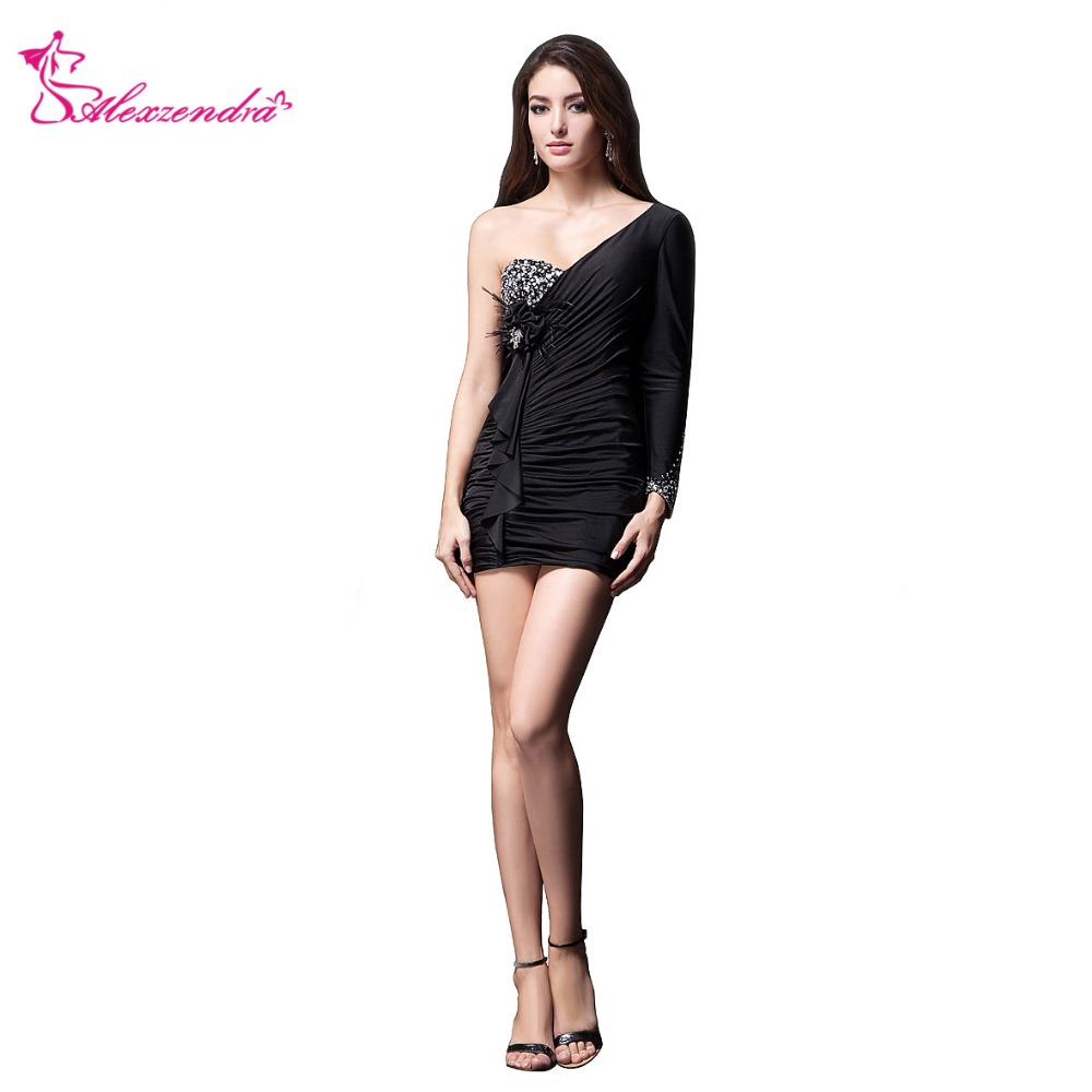 Alexzendra Black One Shoulder Beaded Mini   Prom     Dresses   Simple Party   Dresses   Plus Size