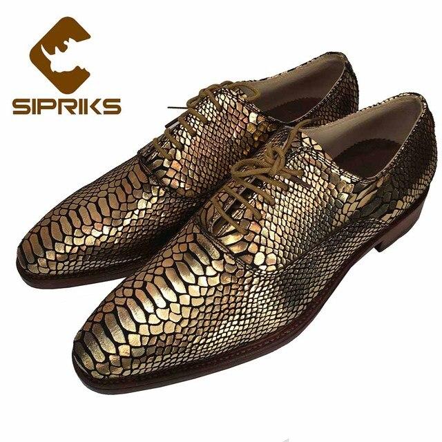 Sipriks Luxury Mens Goodyear Welted Sepatu Emas Kulit Ular Pernikahan Gaun  Sepatu Cocok untuk Pria Oxford b1286c651f
