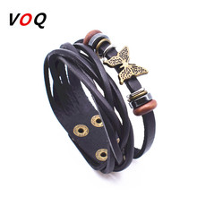 Wooden Beads With Butterfly Charm Bracelet Genuine Leather Bracelets for Women Double Layer Adjustable Button Bracelet Jewelry