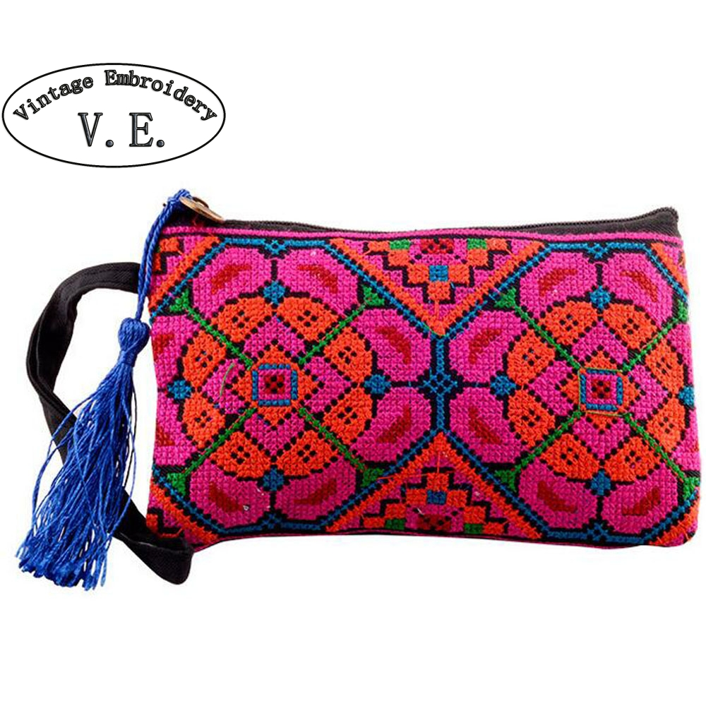 Vintage Embroidery Wallet New National Ethnic Embroidered long Purse small Clutch bag Mobile Phone Coin bags vintage embroidery womens flower embroidered wallet purse handmade ethnic fashion long wallet phone handbag bolsos vintage mujer