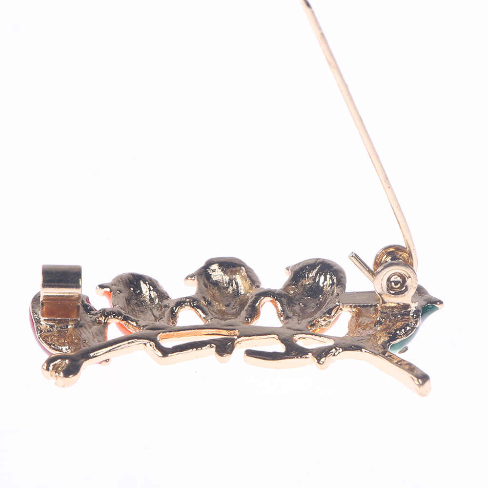Smalto colorato Cinque Uccelli Spilla Con Strass Di Cristallo Clip Collare del Vestito Del Cappotto Della Decorazione Animale Spille Per Gli Amici Il Regalo