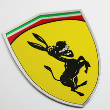 2pcs 3D Metal Donkey Car Window Bumper Body Sticker Badge Emblem Logo Decal Accessories Fit Italy Flag For Ferrari Ford Mustang