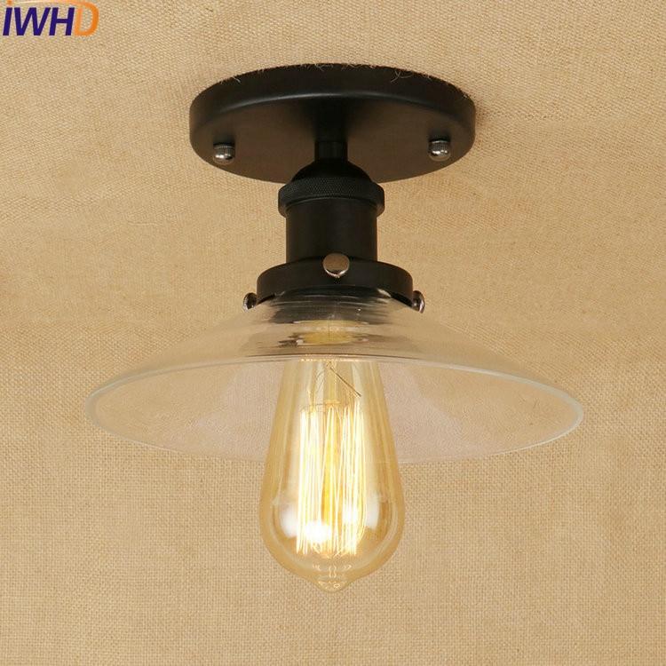 Loft Style LED Ceiling Lights Glass Iron Industrial Vintage Ceiling Lamp Lamparas De Techo RH Retro Fixtures Home Lighting Bar цена
