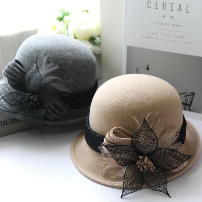01809 100% wool natural twist yarn flower feather elegant LADY cap women leisure bucket hat