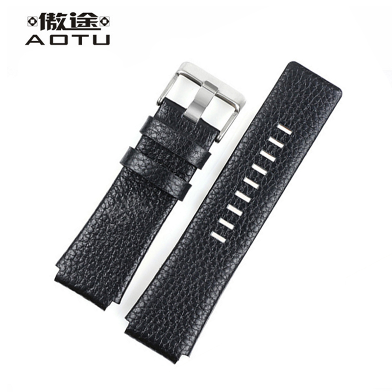 Genuine Leather Watch Straps For Diesel Men Watch Band Black Watch Belt 28*22mm Leather Watch Band Women Straps Correas Reloj eache silicone watch band strap replacement watch band can fit for swatch 17mm 19mm men women