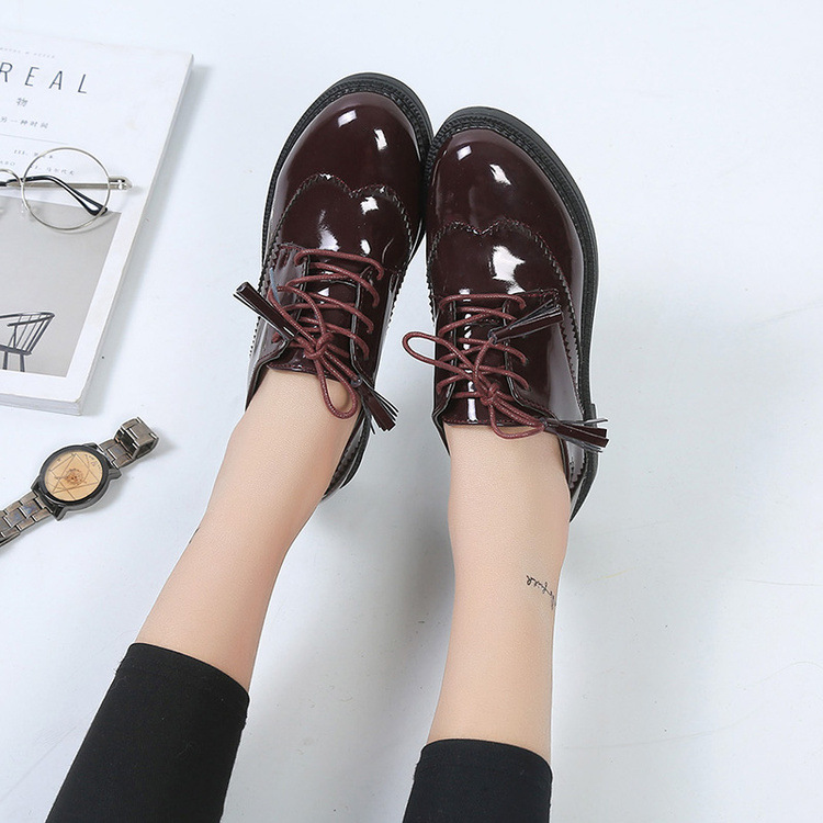 Women Flats new British Style Oxford Shoes Women Spring Soft Leather Casual Shoes Retro Tassel Lace Up Women flat Shoes ...