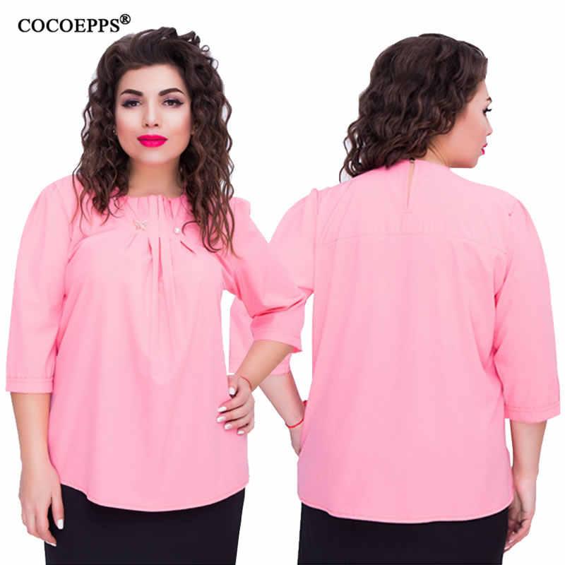 秋のtシャツプラスサイズトップ女性事務シフォントップカジュアルtシャツビッグサイズ 2018 新ファッションblusas女性服