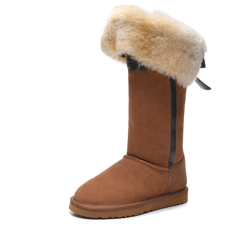 RUIYEE winter boots ladies sheepskin wool one fashion sheepskin wool boots long tube women's boots snow boots 2018 new boots gretel wool boots
