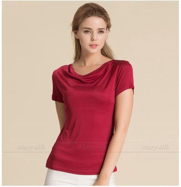 Moda Verão Womens Casual 100% Top De Seda Tops T-shirt S, M, L, XL__5 Cores