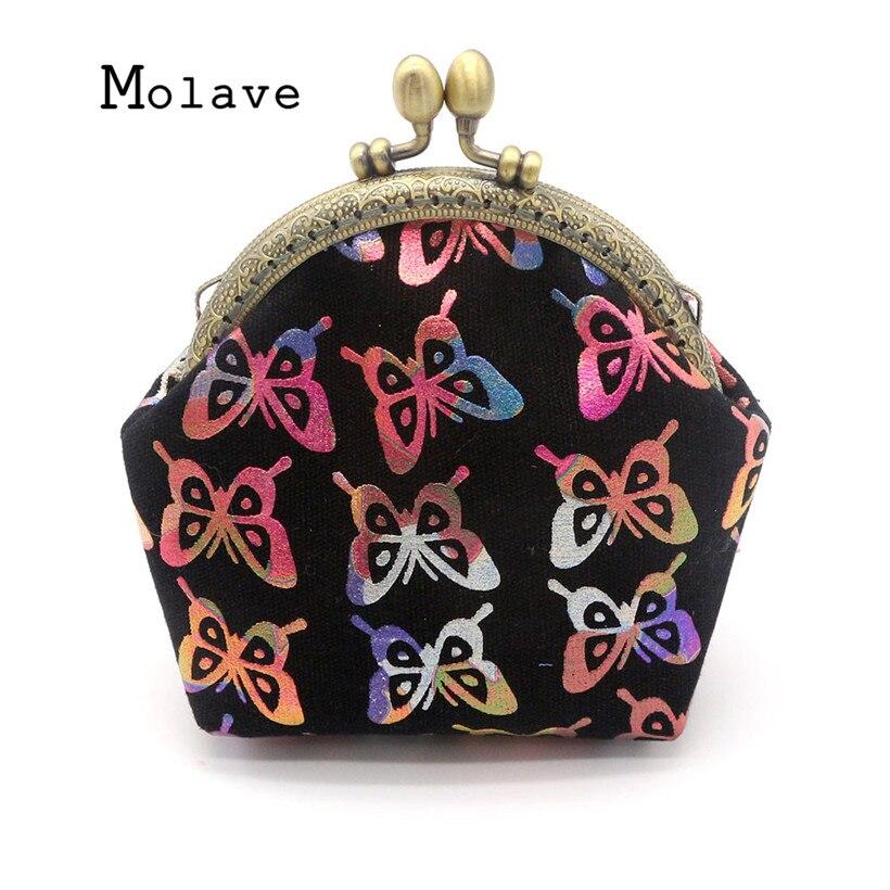 MOLAVE Geldborse Tasche Kupplung kuss-lock Brieftasche fur Frauen Taschen Schmetterling Bronzing Leinwand Karte Shell Typ oct16