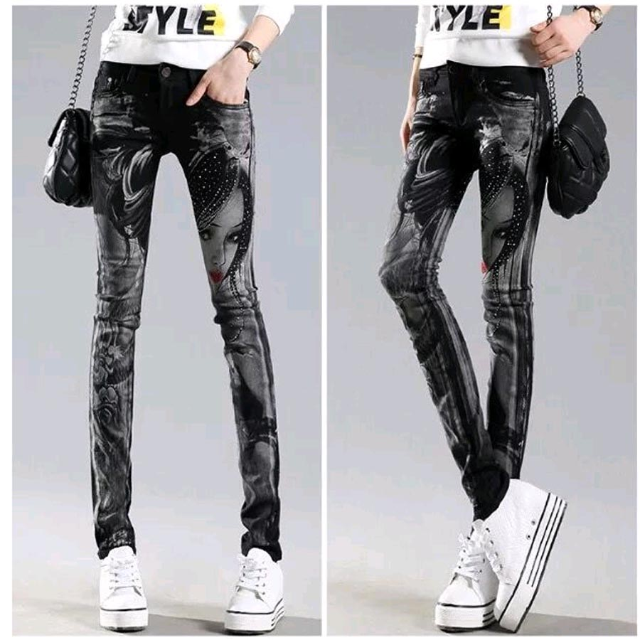 Black Long jeans woman Casual Pencil pants Girl Washed rhinestones Hot drilling printing Skinny Long women Jeans Capris Female 4