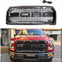 F 150 Racing grille ABS front trim Replacement Grills Raptor Style mask with led fit for F150 2015 2017