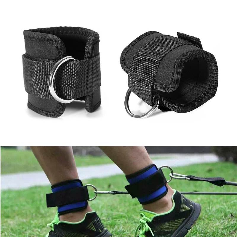 1 Pair Resistance Band D-ring Ankle Straps Workouts with Durable Cuffs for Ab, Leg & Glu ...