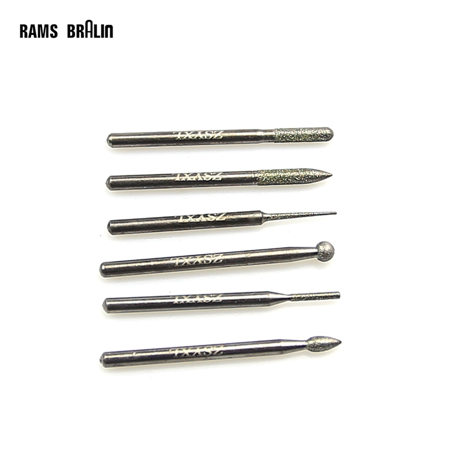 6 Pieces Premium Quality Diamond Grinding Head Dremal Engraver Tool Bits For Jewllery Metal Finish